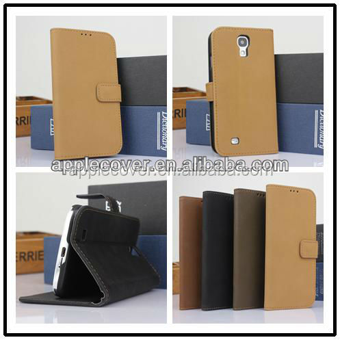 Hot selling Retro PU leather flip wallet cover case for samsung S4 , for Samsung galaxy S4 cell phone case