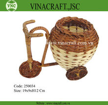 Small bicycle shape bamboo willow basket decoration