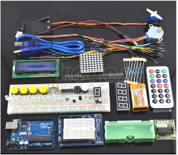 2015 New Products Starter Kit For Arduino UNO R3 new sensor kit Electronic blocks starter kit For Uno R3 Board 1602 Lcd
