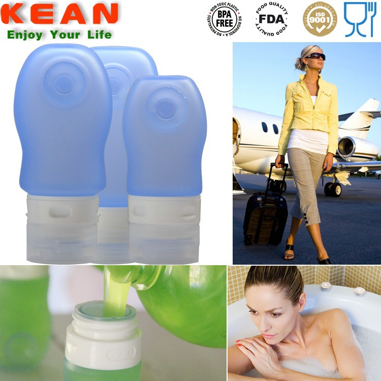 Wholesale eco-friendly reusable bpa free silicone mini squeeze sunscreen bottle