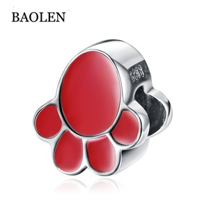 100% 925 Sterling Silver Enamel Series Red Cat's Claw Charm Beads Fit Original Pan Bracelet Pendant DIY