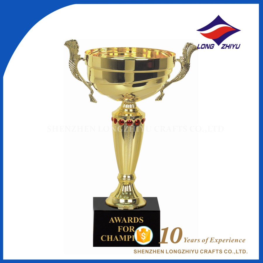 Big size trophy cup metal dancing statues decorative gift manufacture