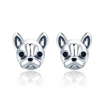 French Bulldog Earrings 925 Sterling Silver Earrings Studs With High Quality