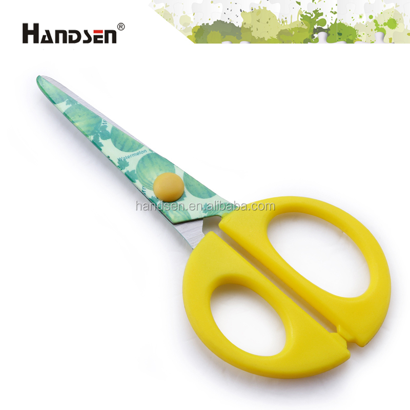 "5-1/4"" PP handle stainless steel blade with coated scissors"