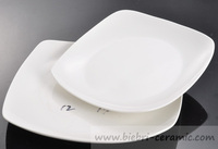19, 21, 23 inch plain white elegant porcelain square shaped plates for hotel and restaurant