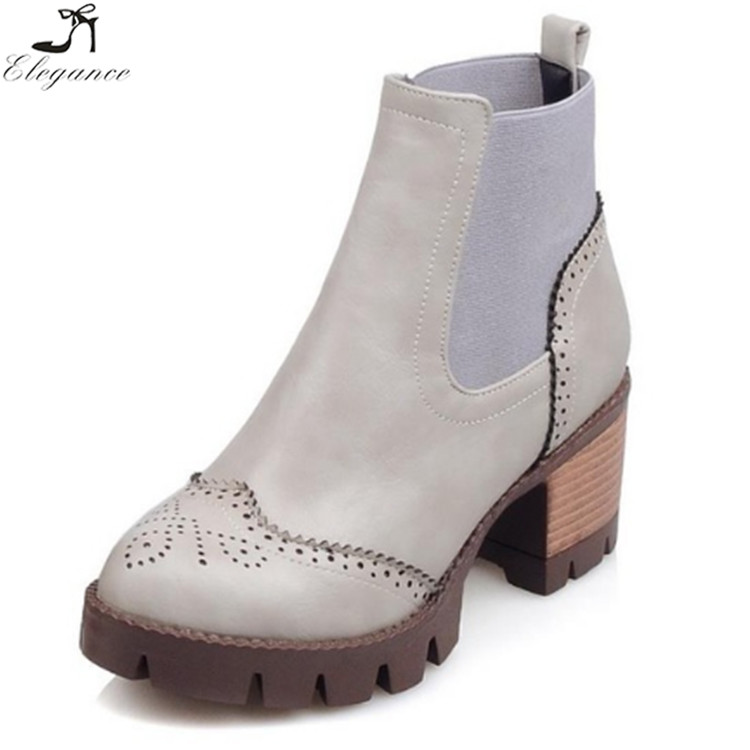 new autumn spring female anckle boots elastic band with cutouts place heels round cap platform pu soft for womens fashion boots