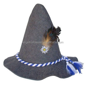 Traditional Oktoberfest party felt hat with blue tie and feather OH6002