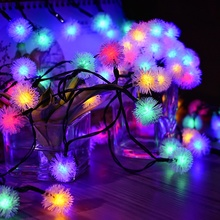 Solar powered 20LED outdoor dandelion shape string light 4.8m Merry Christmas decor <strong>RGB</strong> hairy ball strip string light