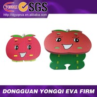 Cute Adjustable Apple Study EVA Foam Kids Table and Chair Sets
