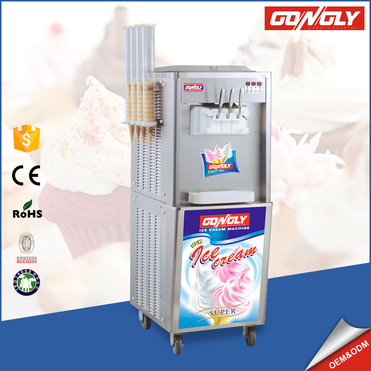 2017 best sale cone holder floor standing 3 flavors ice cream maker for South America market