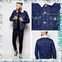 Collar Lapel Light Wash Blue Denim Men's Fleece Lining Jackets