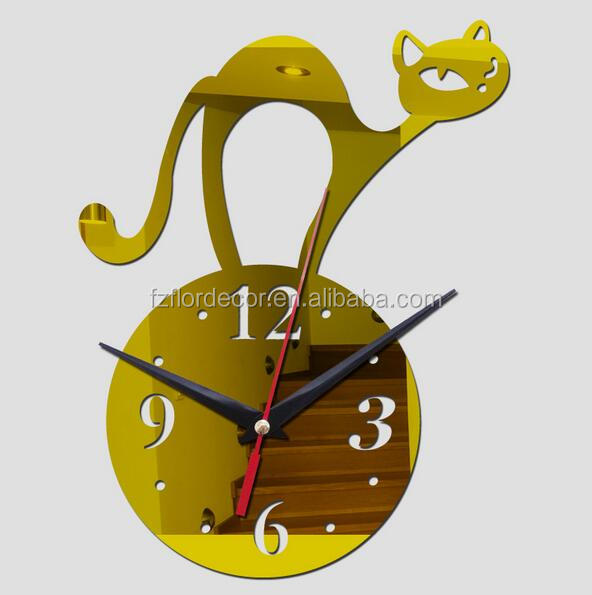 DIY wall clock promotional Cat design wall watch for home decoration WCO0774
