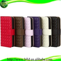 Weave design Leather stand Wallet Flip case cover Guangzhou accesorios celulares