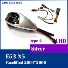 Free shipping for BMW X5 E53 2004 2006 shift knob with LED gear position indicator LHD 2205635Z-S53N Silver
