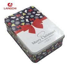 Christmas Candy Tin Box Cookie Packaging Box With Bowknot Pattern