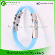 China manufacturer stainless steel titanium bracelets health benefits silicone titanium pain relief sports bracelet