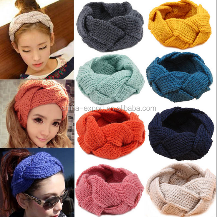 JPHAIR150491 2015 wholesal fashion south Korea women 18 color winter keeping warm braid knitting elastic hairbands