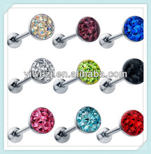 Sparkling CZ Ferido Gem Tongue Ring Piercing Barbell Industrial Earrings