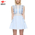 Women Summer Floral Crochet Lace Dress Female Hollow Out Mini Casual Dress