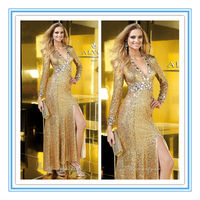 2016 New Style Gold Long Sleeve V Neck Crystals Brazilian Evening Dress(EVAL-1005)
