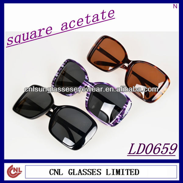 Large Lens Square Acetate Women Sunglasses (LD0659)