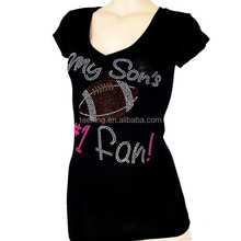 women's slim fit cotton t shirt with rhinestone