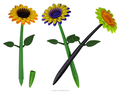 Plastic Shaped Sunflower Pen K-SF08