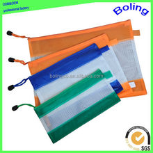 pvc stationery zipper bag pvc mesh zipper document bag