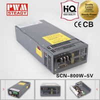 SCN-800-5 110vac to 5vdc led transformer output 800w constant voltage switch mode power supply 120amp smps power supply for cctv