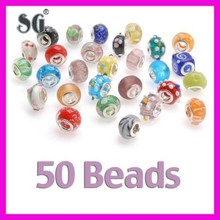 Silver Lampwork Murano Glass European Mix Beads with SINGLE CORE