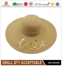 OEM Custom Sequin Embroidery Wide Brim Straw Floppy Hat