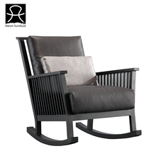 New style and comfortable wooden real leather rocking chair replacement parts