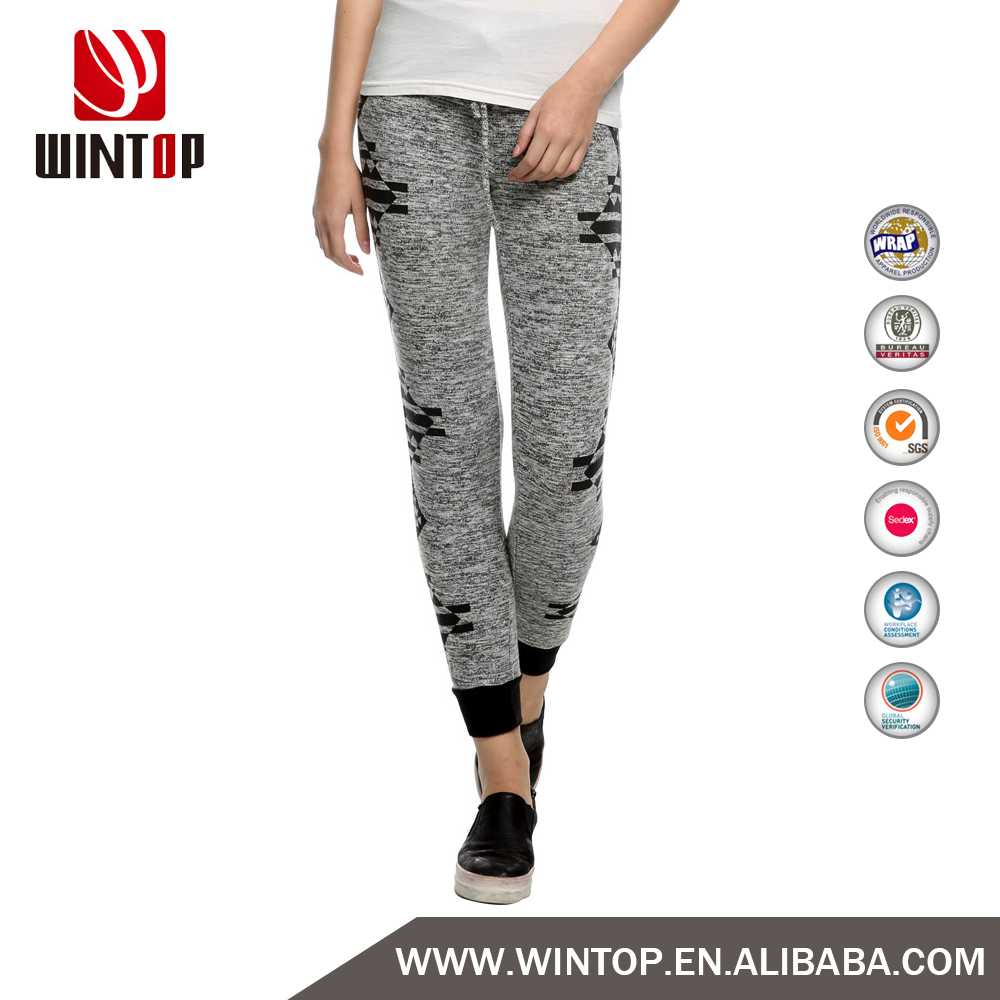 Custom women Drawstring Aztec Comfy Casual Knit jogger pants in factory