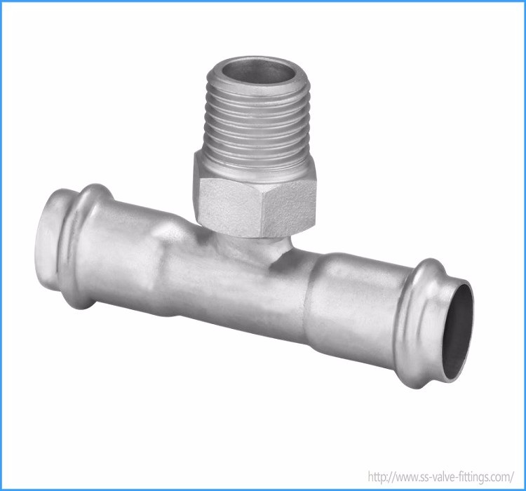 316 Stainless Steel Press Fitting Equal Tee for Heated Water