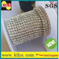 10Yards SS12 Close cup chain Rhinestone Roll,Diamond rhinestone sliver chain for Fair &Garment