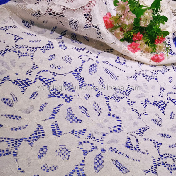 2017 custom cotton/nylon dentelle lace fabric with heavy weight