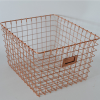 vintage Industrial Metal Wire Storage Basket