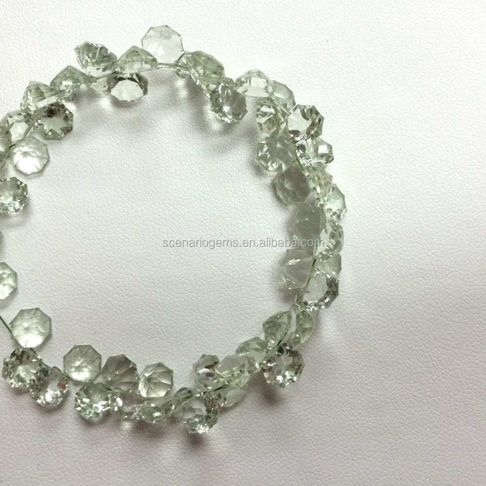 #254 SZ Natural Fancy Star Beads Green Amethyst