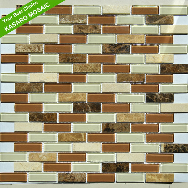 Cream Marfil Mix Emperador Light and Dark Mix Glass Mosaic(KN-13081204)