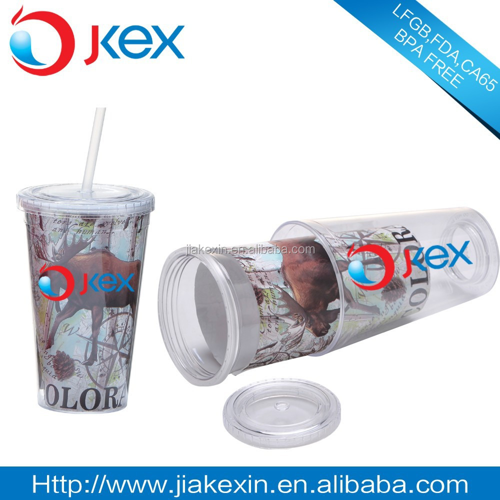 16OZ Double layer cup plastic travel mug with photo insert