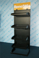 floor standing iron pegboard display rack with basket