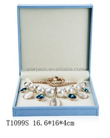 Fashion Blue Leather Necklace Set Jewellry Plastic Box
