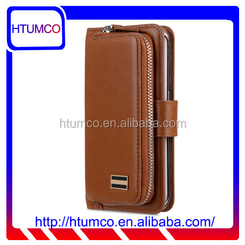 Popular Folio Brown Wax Leather case for Samsung Galaxy S6 Edge