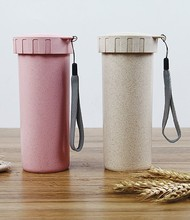 wheat straw plastic drink cup Travel mug with cover