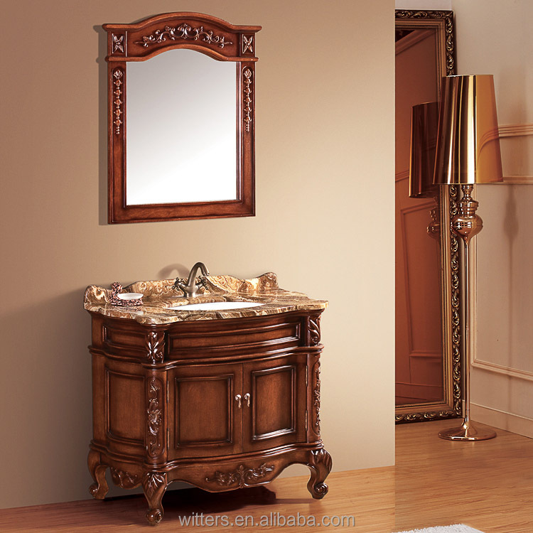 Narrow Home Custom French Baroque Bathroom Vanity Cabinet for Cloakroom WTS265