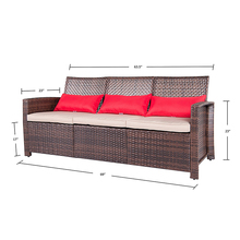 Aluminum Frame Large 3 Pc Modern Rattan Wiker Sectional Sofa Set Outdoor Patio Furniture