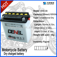 12N5-3B 12V5Ah Lead Acid Dry charged Motorbike battery for qianjiang motorcycles parts