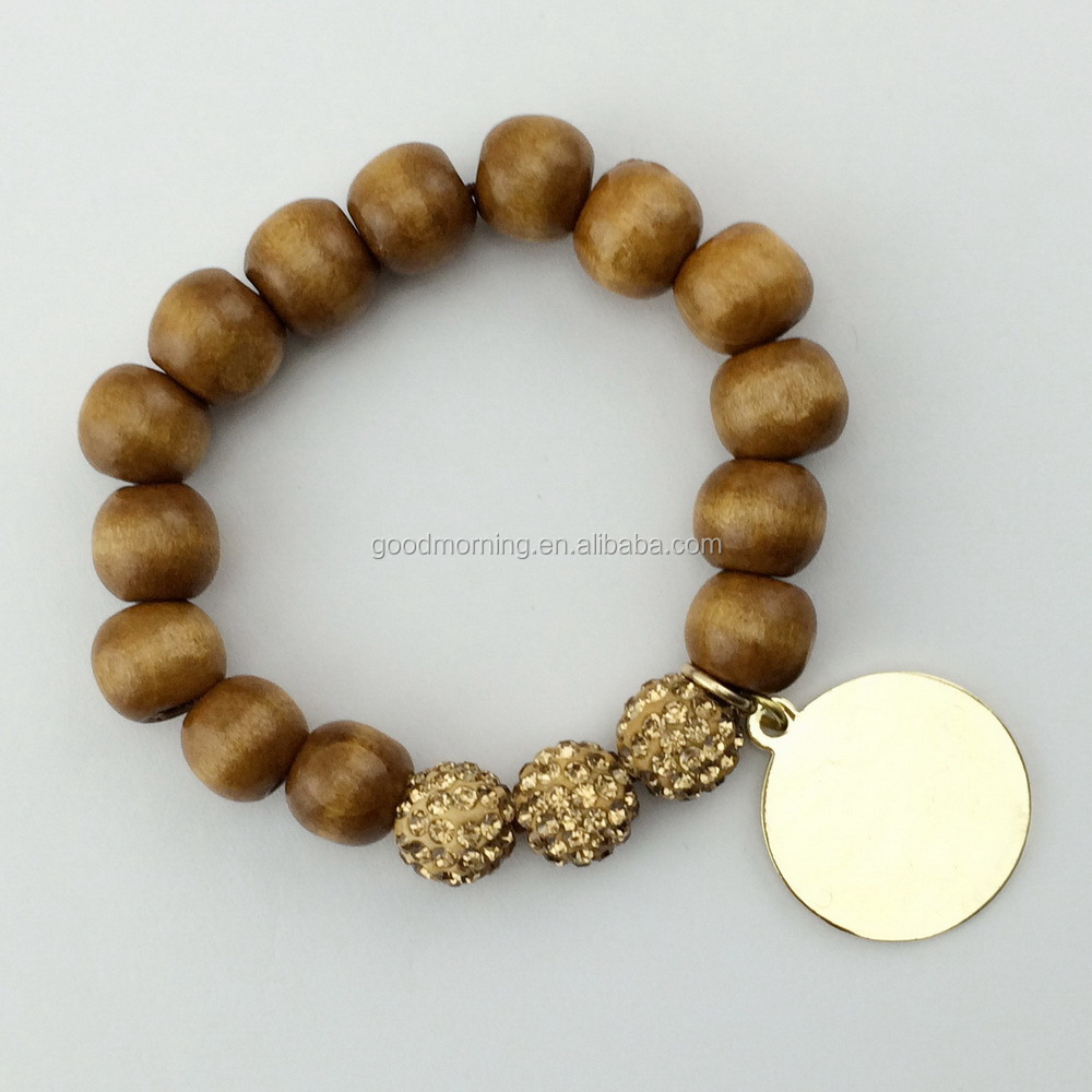 Wood beads pave ball bracelet with metal disc for monogram