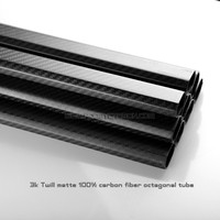 20x30x500mm Octagon Carbon Fiber Tube for Multicopter, Outdoor Sport Bent Carbon Tubes