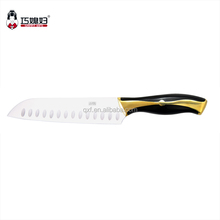 Classial handmade japanese style santoku knife with golden color handle